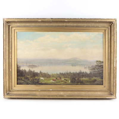 Antique Hudson River School Oil Painting on Canvas of a Landscape