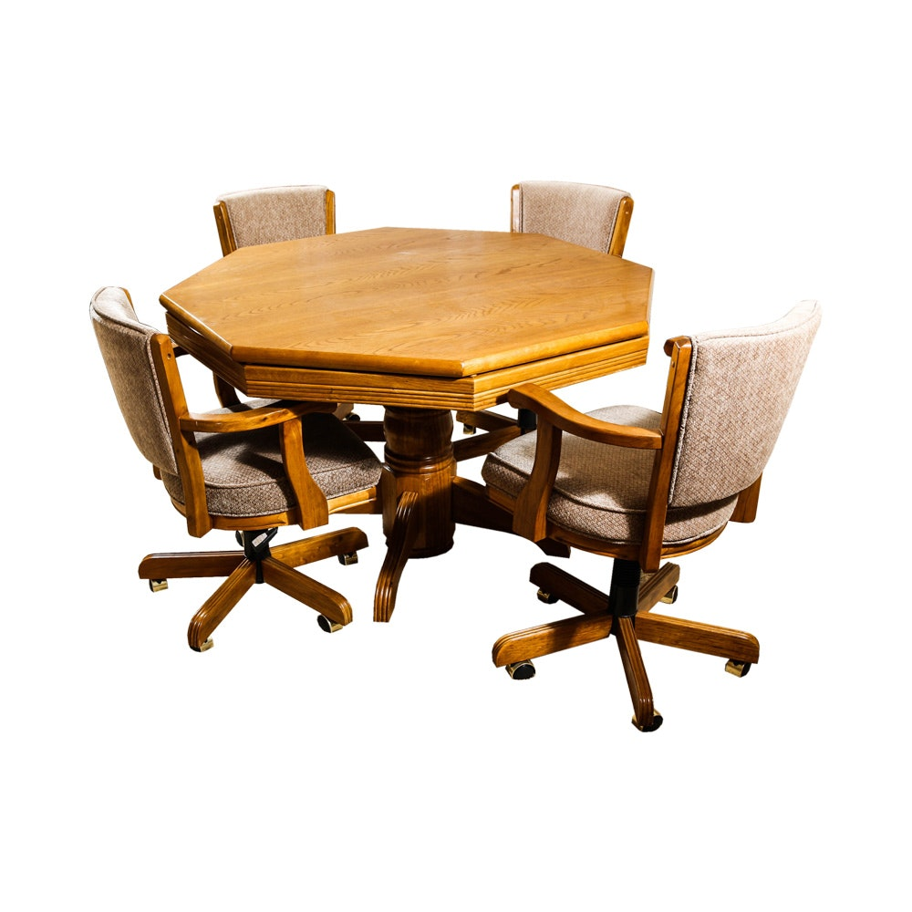 Wooden Poker Table with Four Chairs