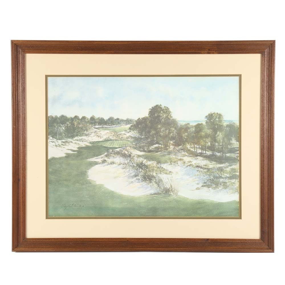"Ray G. Ellis Framed Original Watercolor ""12th Hole at Wild Dunes"""