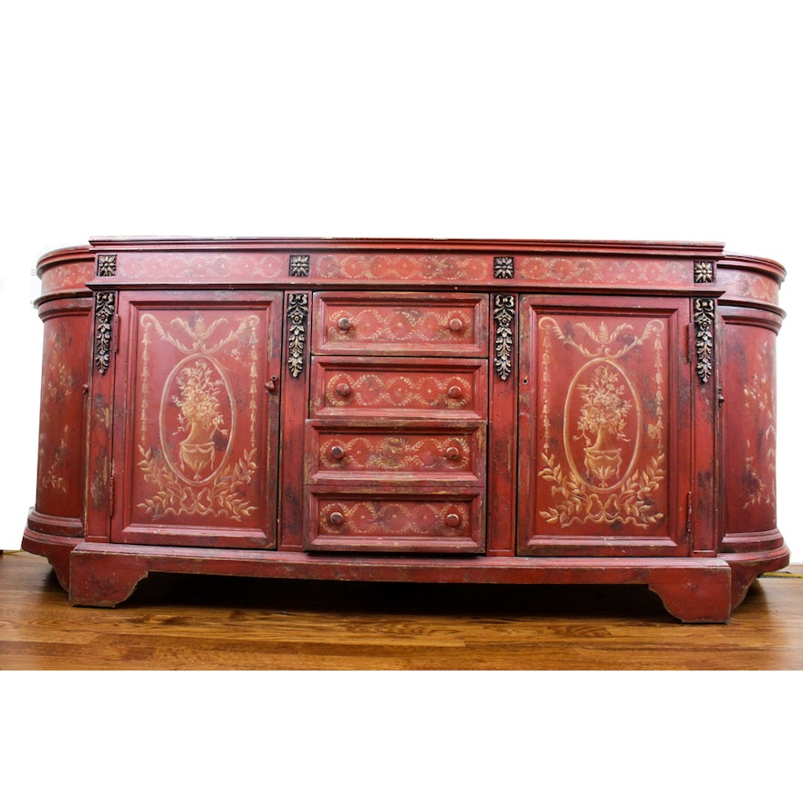 neoclassical style hand painted sideboard by habersham ebth. Black Bedroom Furniture Sets. Home Design Ideas