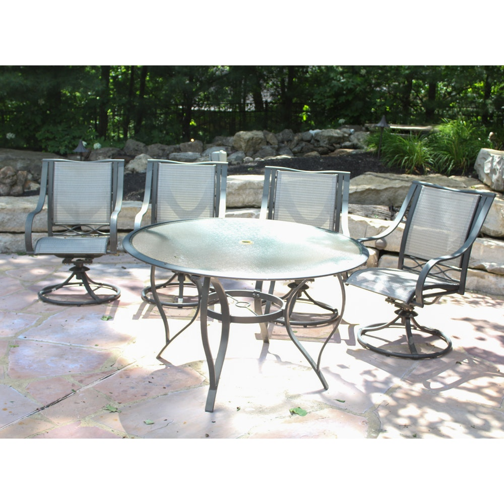 glass top patio table and chairs rh ebth com Round Patio Table and Chairs Patio Table and 6 Chairs