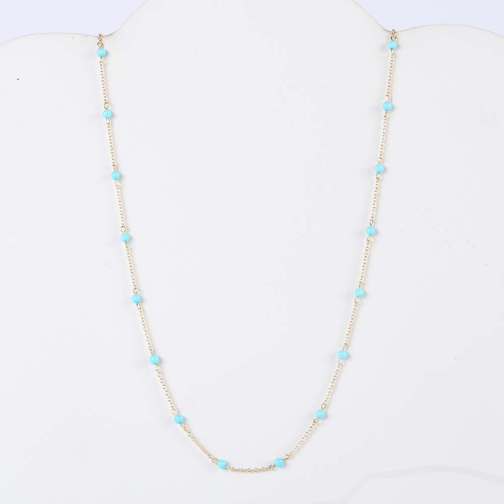 14K Yellow Gold Turquoise Bead Station Neckalce