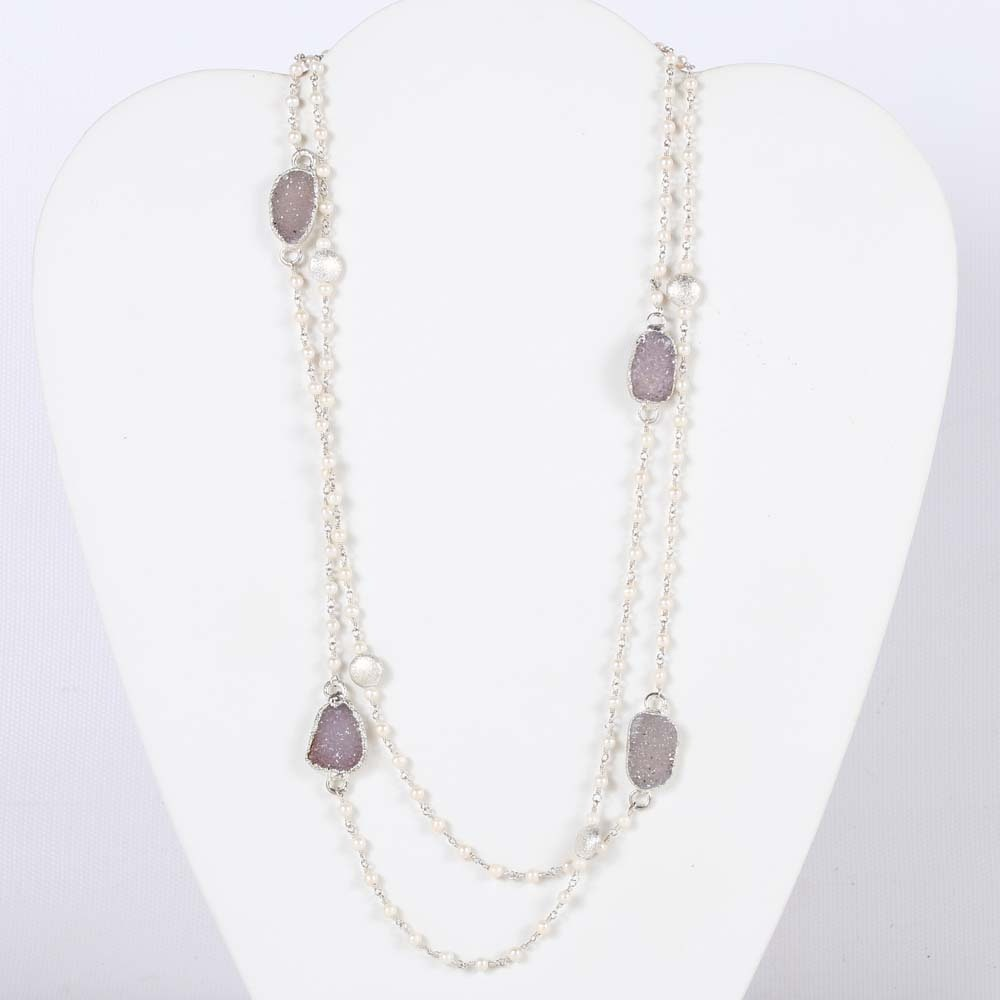 Sterling Silver Nina Nguyen Freshwater Pearl and Druzy Necklace