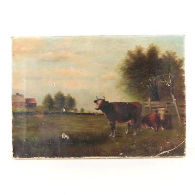 Oil on Canvas of Cows in Pastoral Landscape