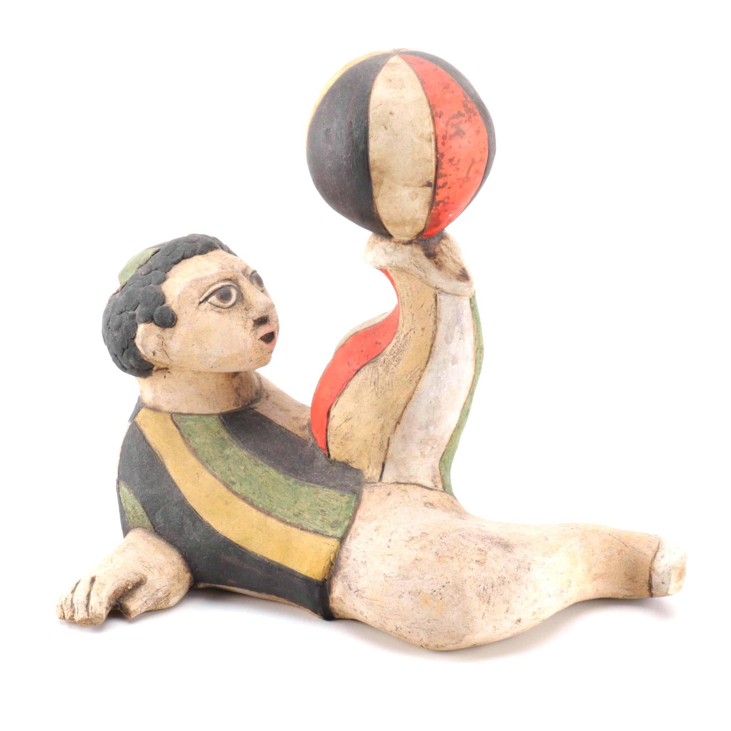 Dane Burr Ceramic Sculpture of a Boy
