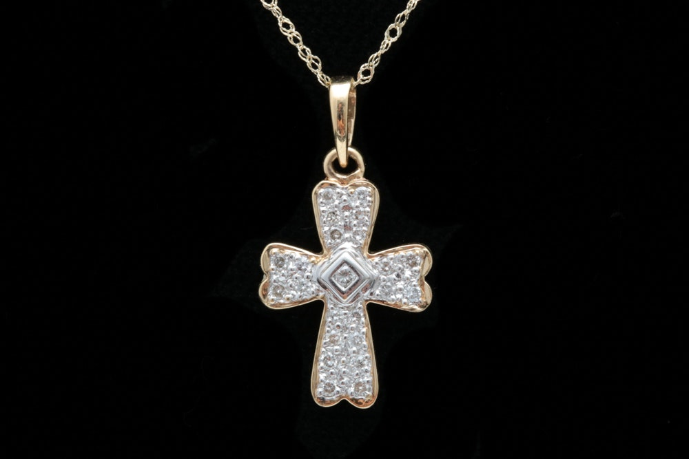 14K Two-Tone Gold and Diamond Cross Pendant with Chain