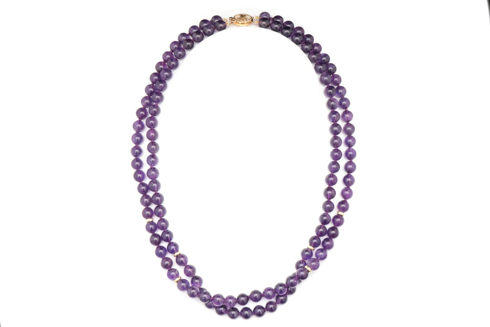 14K Gold and Amethyst Bead Necklace