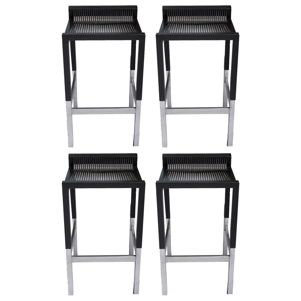 Modern Style Black and Silver Tone Barstools