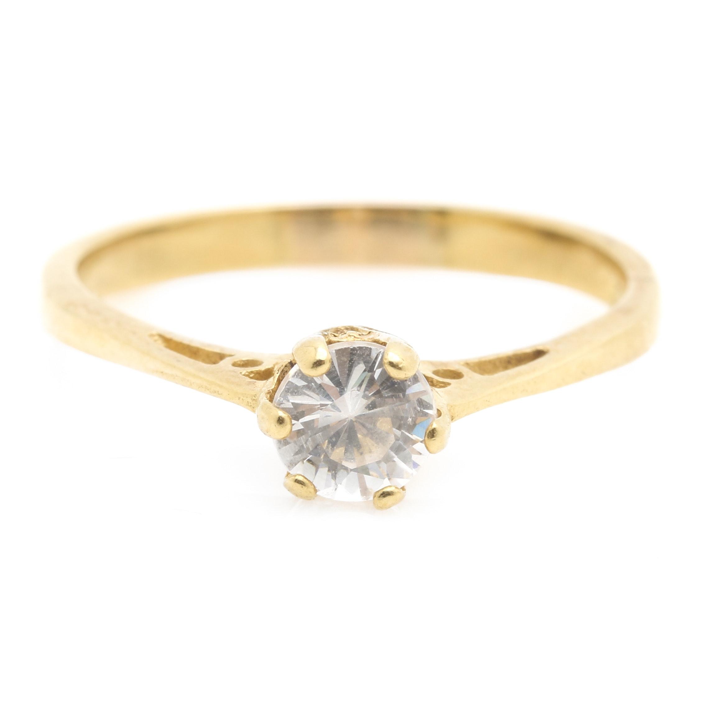 18K Yellow Gold Cubic Zirconia Ring
