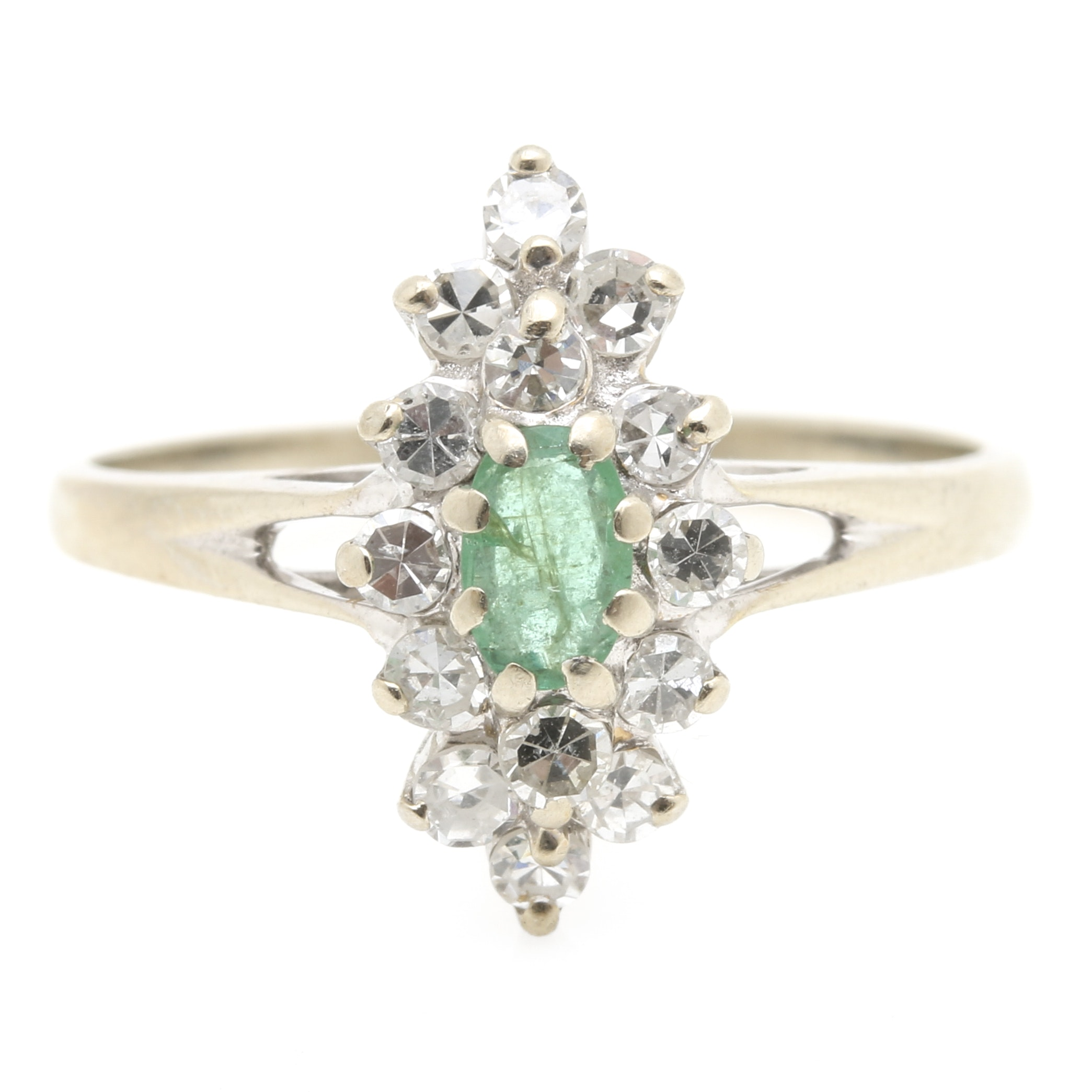 14K White Gold Emerald and Diamond Navette Ring