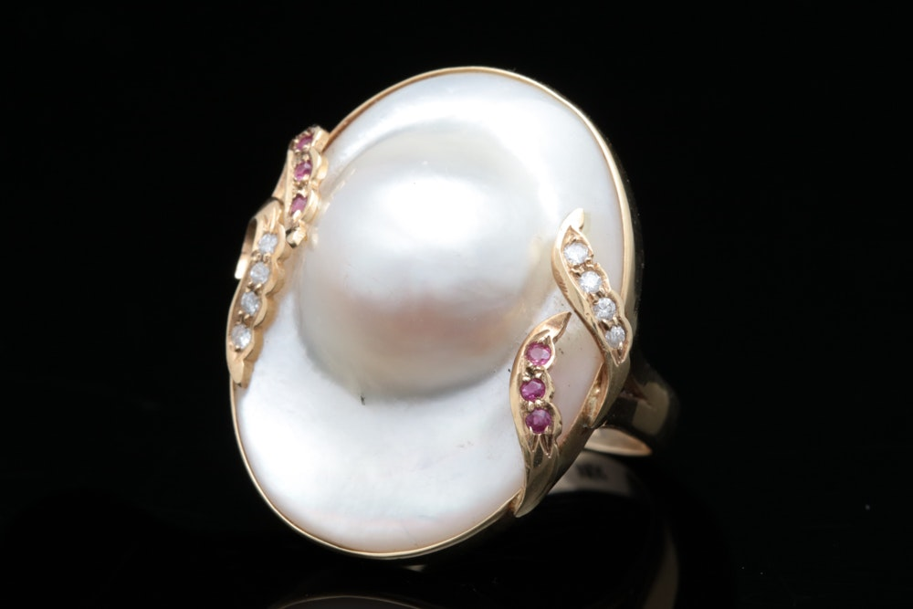 14K Gold, Pearl, Diamond and Ruby Ring