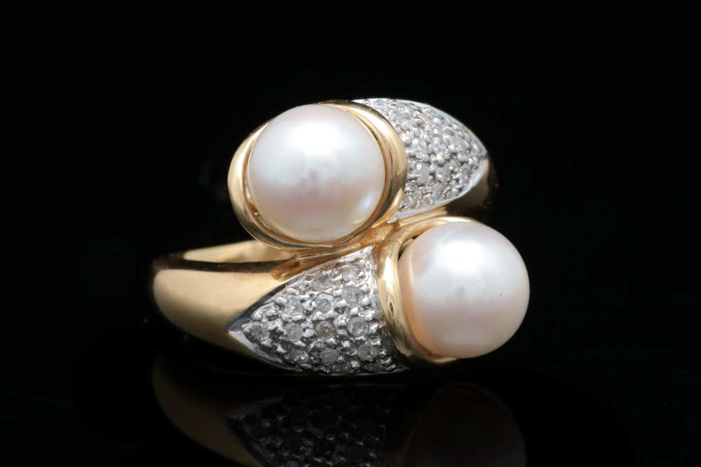 14K Two-Toned Gold, Pearl and Diamond Ring
