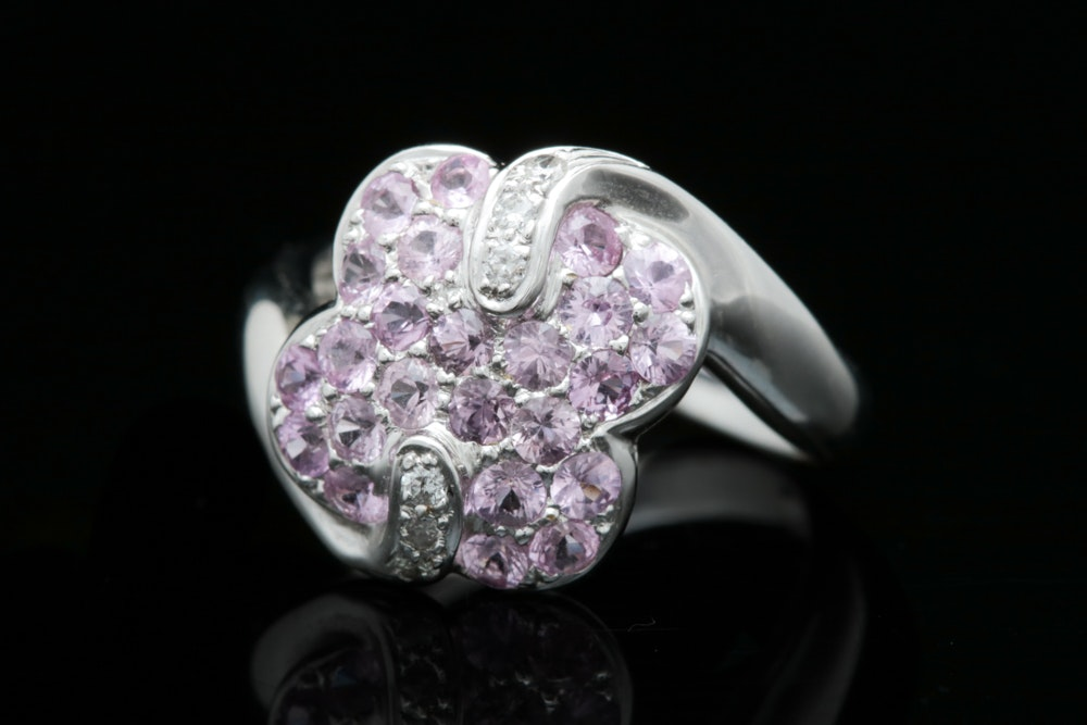 14K White Gold. 1.50 CTW Pink Sapphire and Diamond Ring