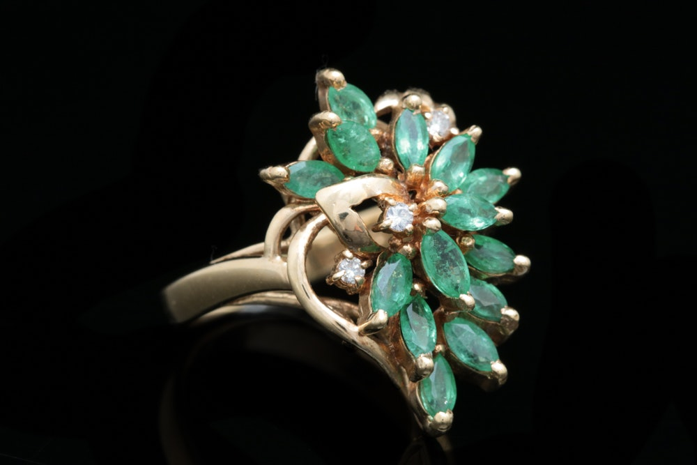 14K Gold, 1.62 CTW Emerald and Diamond Ring
