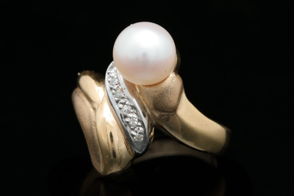 14K Two-Tone Gold, Pearl and Diamond Ring