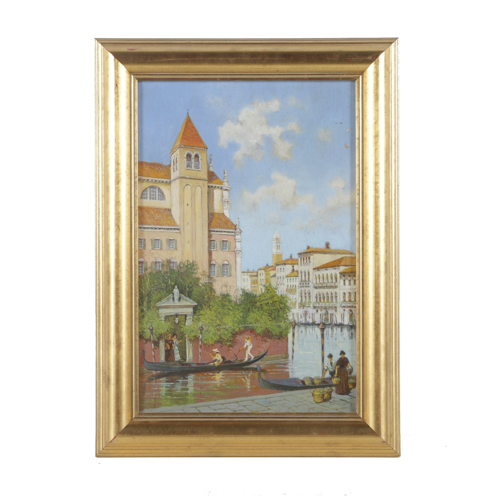 Oil Painting on Canvas of Venetian Canal Scene