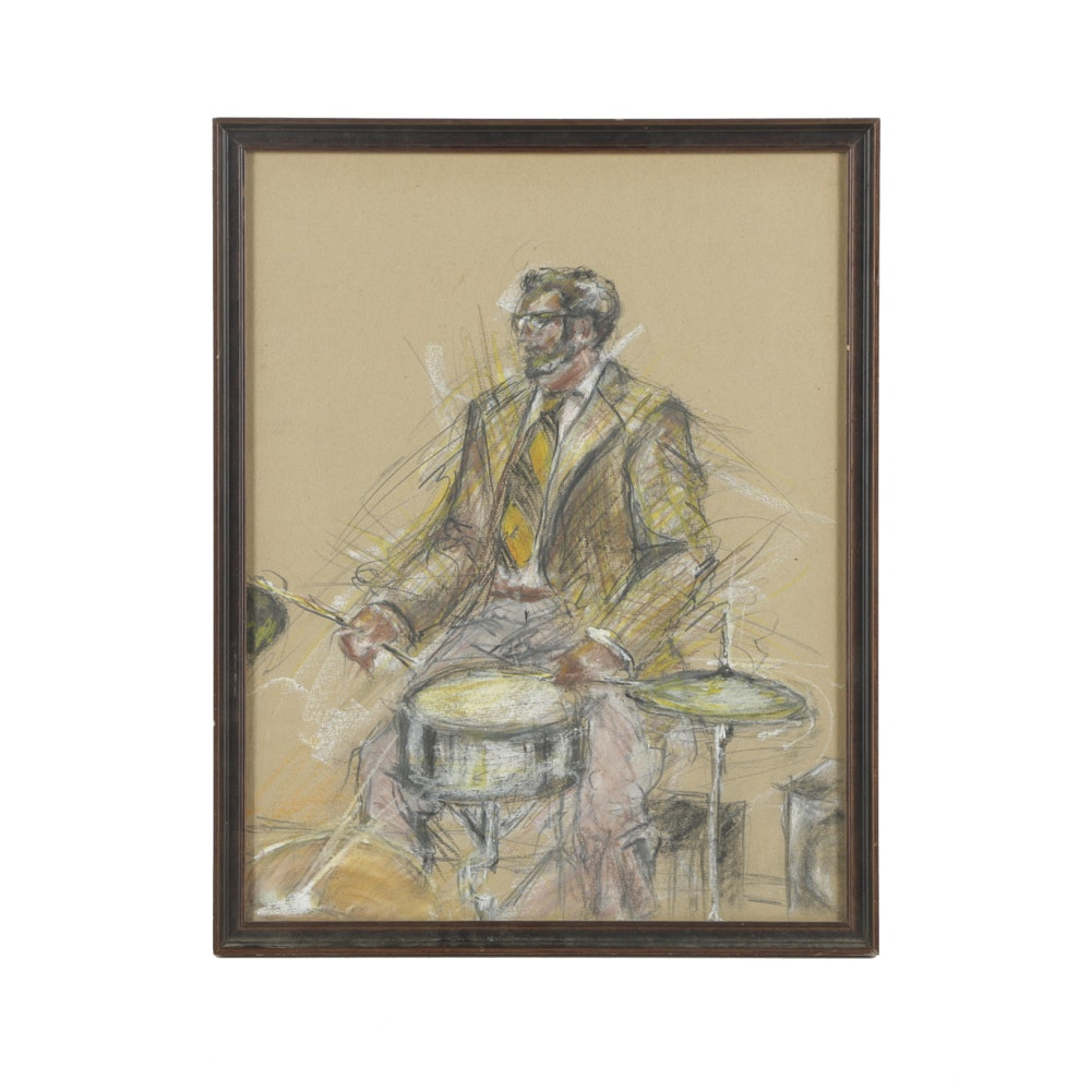 Pastel Drawing on Paper of Drummer
