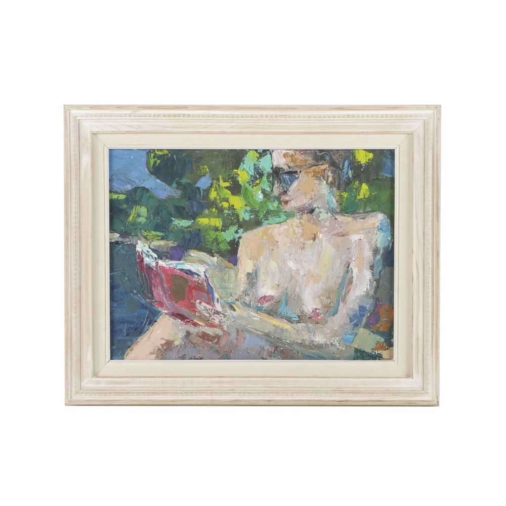 Oil Painting on Canvas Nude Woman Reading