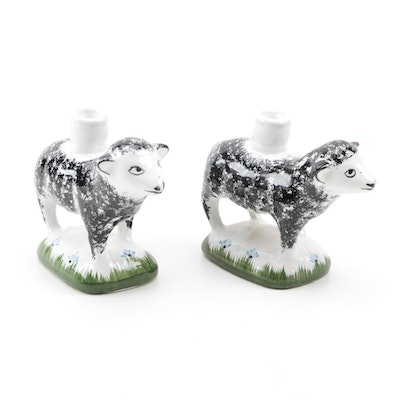 Hand-Painted Portuguese Sheep Candle Holders