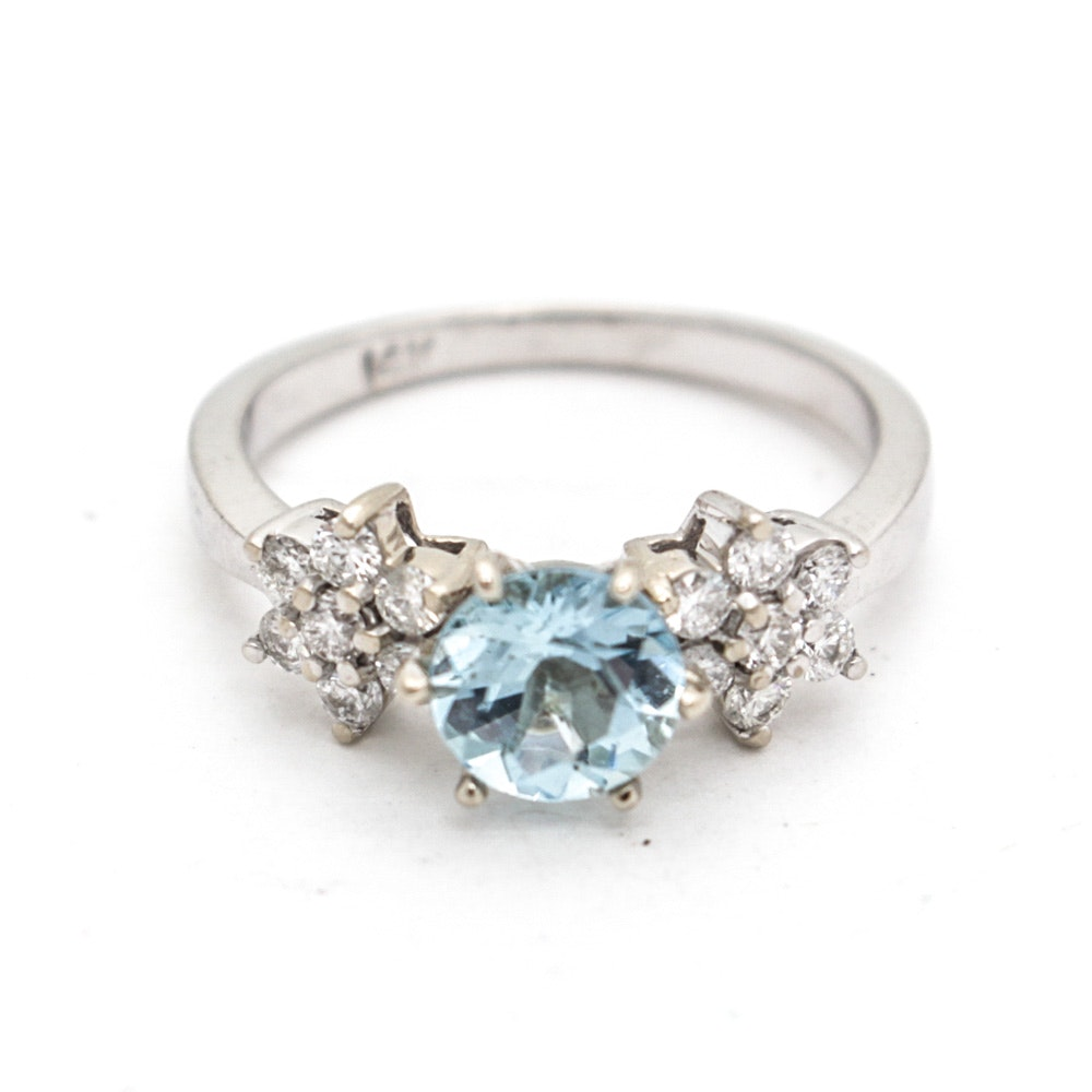 14 K White Gold Natural Aquamarine and Diamond Ring