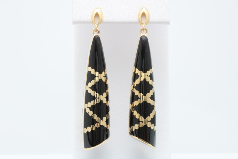 Andrew Hamilton Crawford Gold Plated Sterling Silver and Black Enamel Dangle Earrings