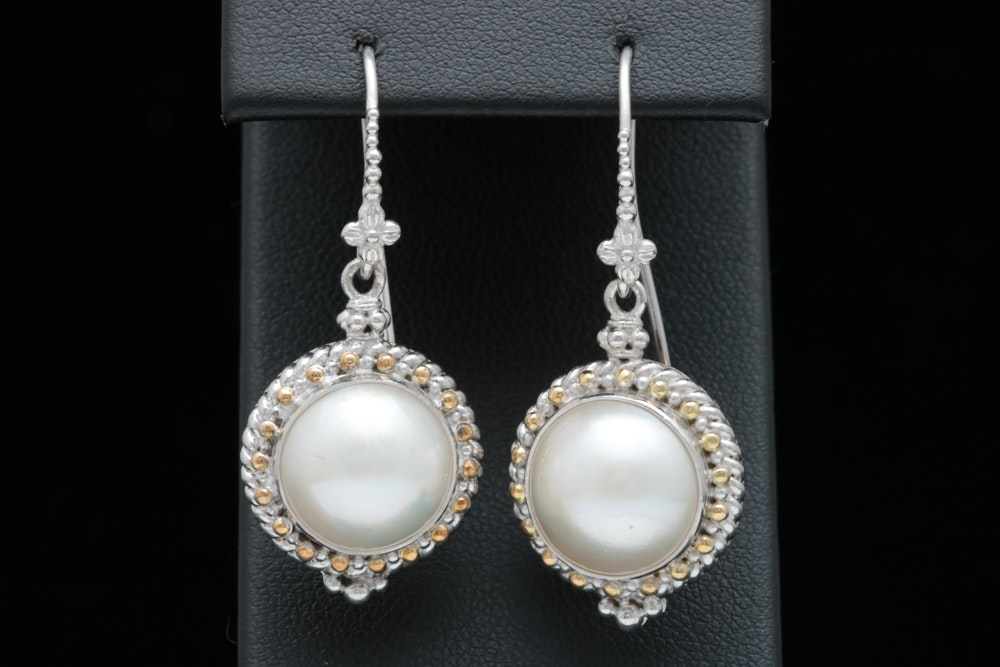 Robert Manse Sterling Silver, 18K Gold and Mabé Pearl Dangle Earrings