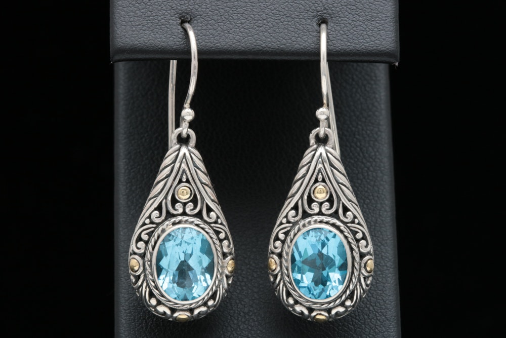 Robert Manse Sterling Silver, 18K Gold, and Blue Topaz Dangle Earrings