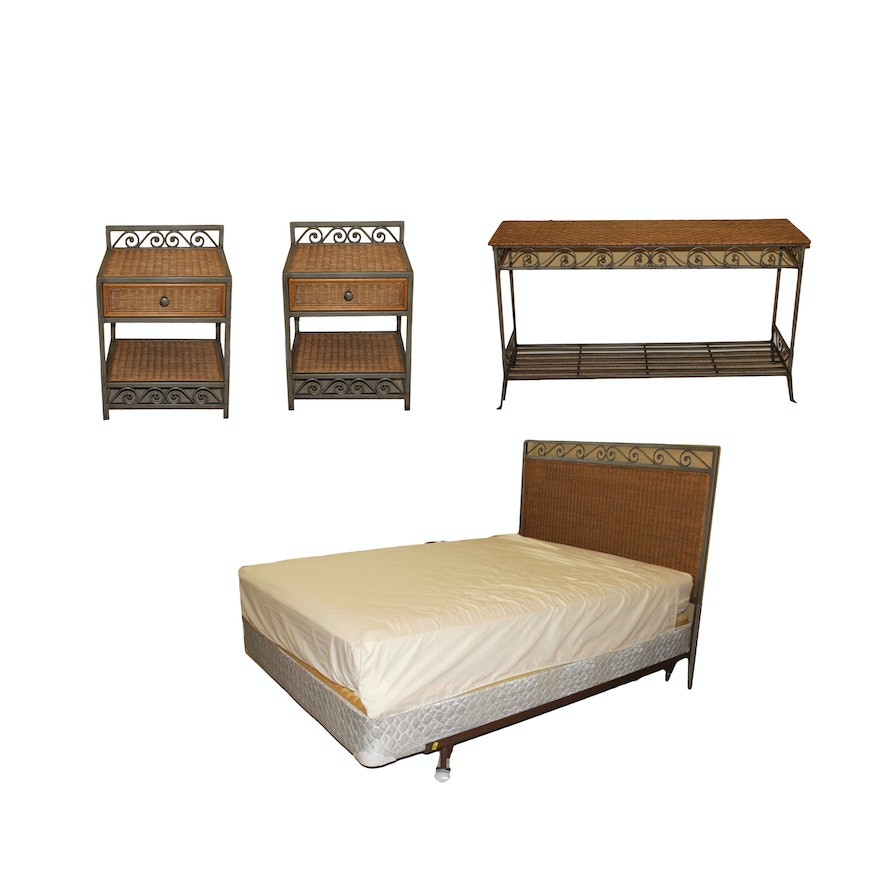 Wicker Bedroom Set Featuring Queen Bed Frame by Pier 1 Imports