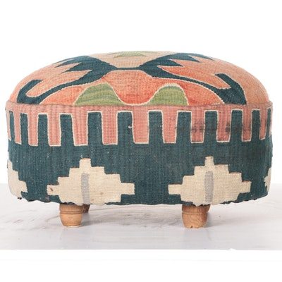 Oval Footstool With Kilim Upholstery