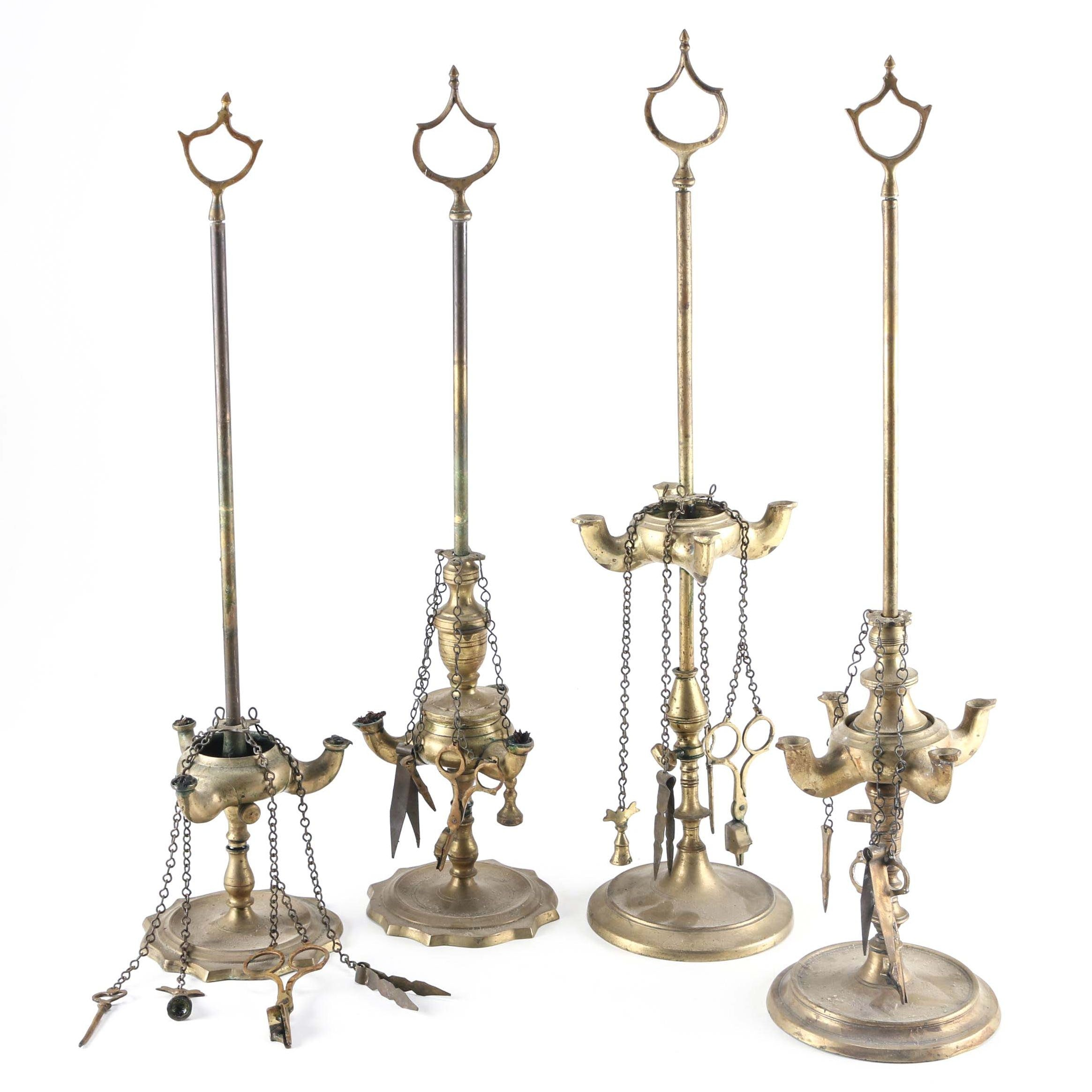 Antique Brass Whale Oil Lamps ...