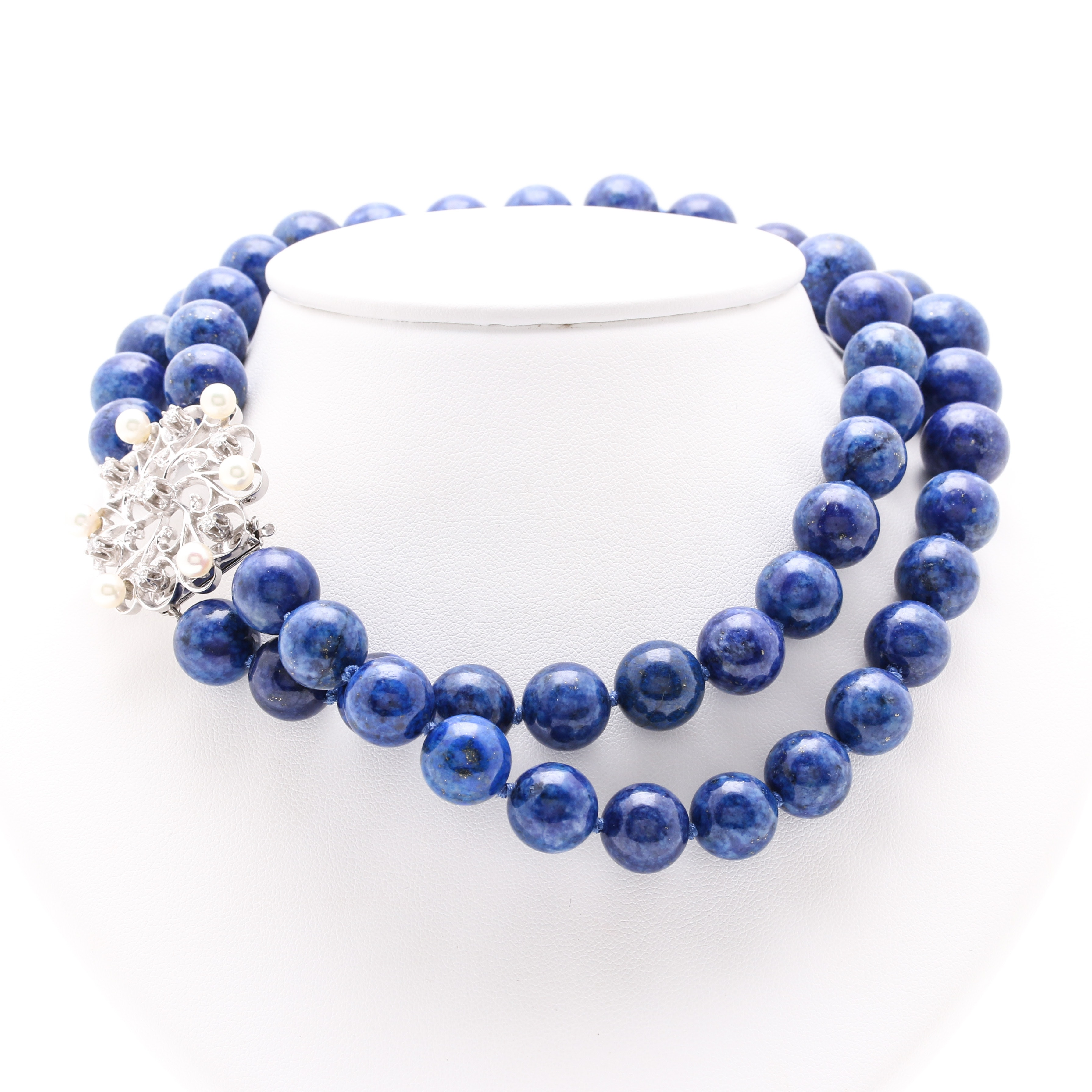 Lapis Lazuli Necklace with 14K White Gold Clasp with Diamonds and Cultured Pearls