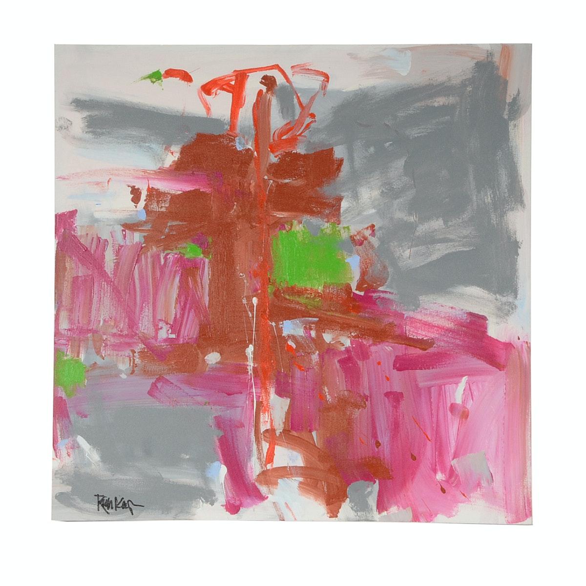 "Robbie Kemper Original Acrylic Painting ""Grays with Brights"""