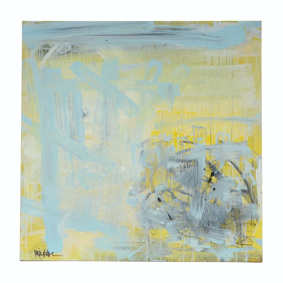 """Robbie Kemper Original Acrylic Painting """"Washed Blue Yellow Grays"""