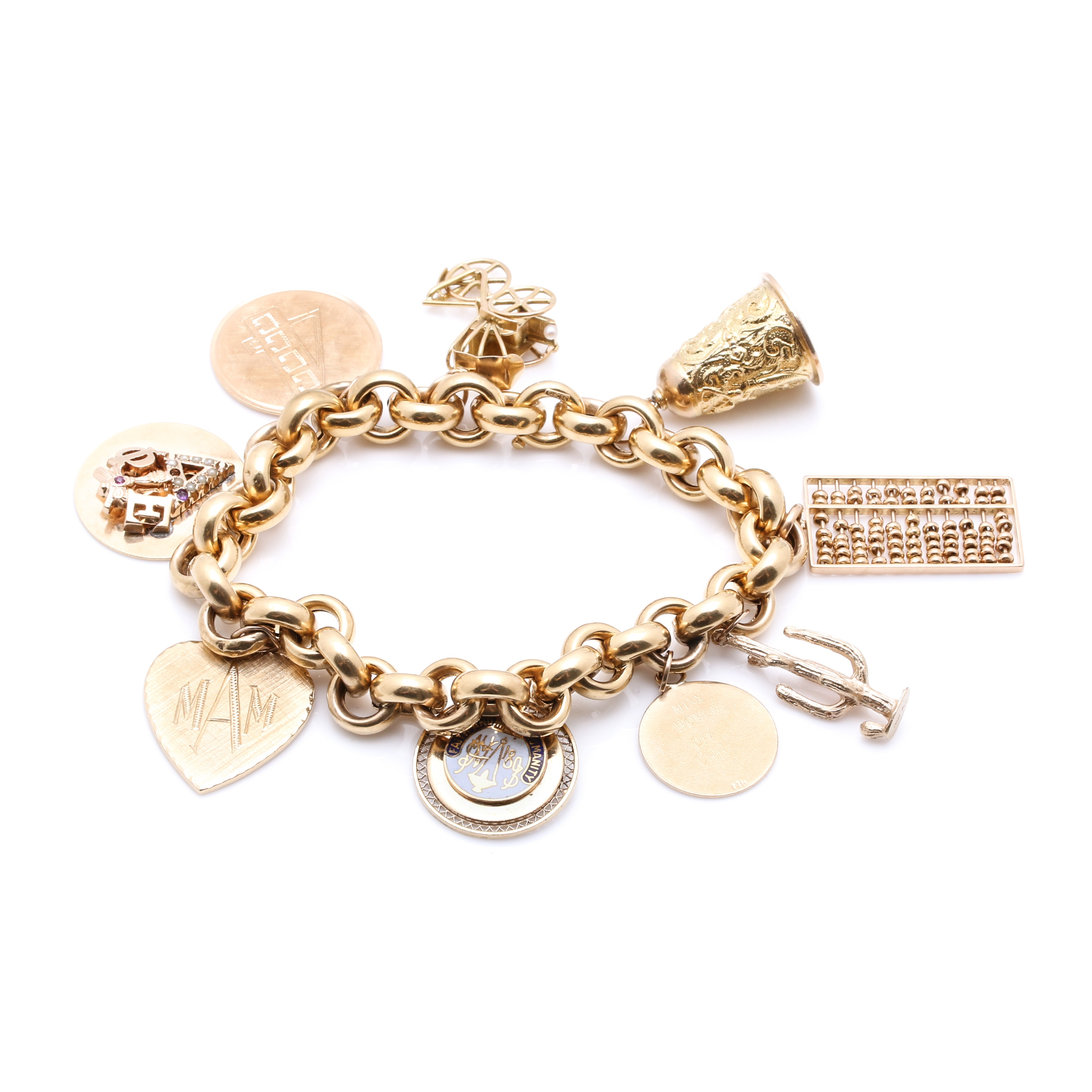 18K Yellow Gold Charm Bracelet with 14K and 18K Charms