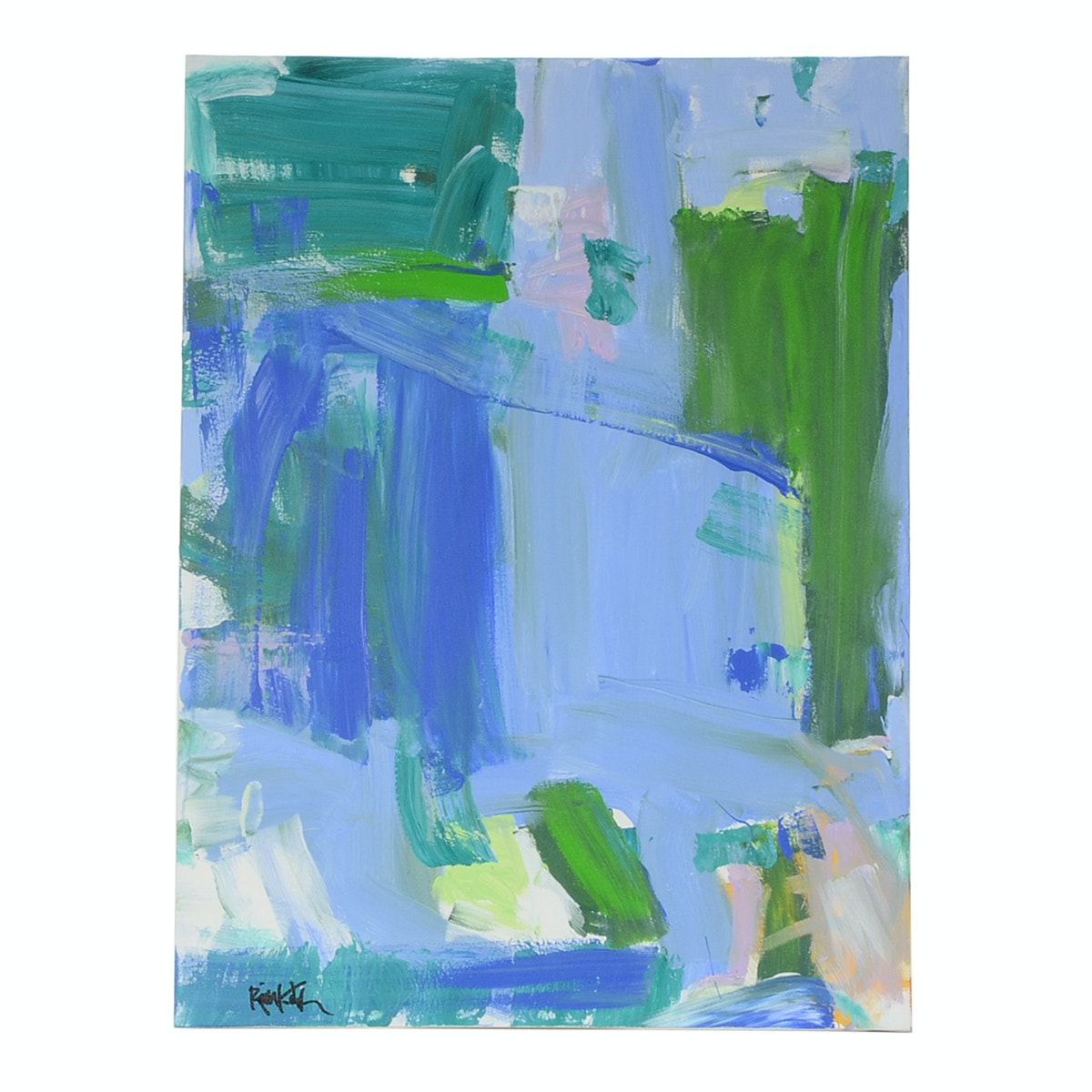 "Robbie Kemper Original Acrylic Painting ""Blue Green Color Blocks"""