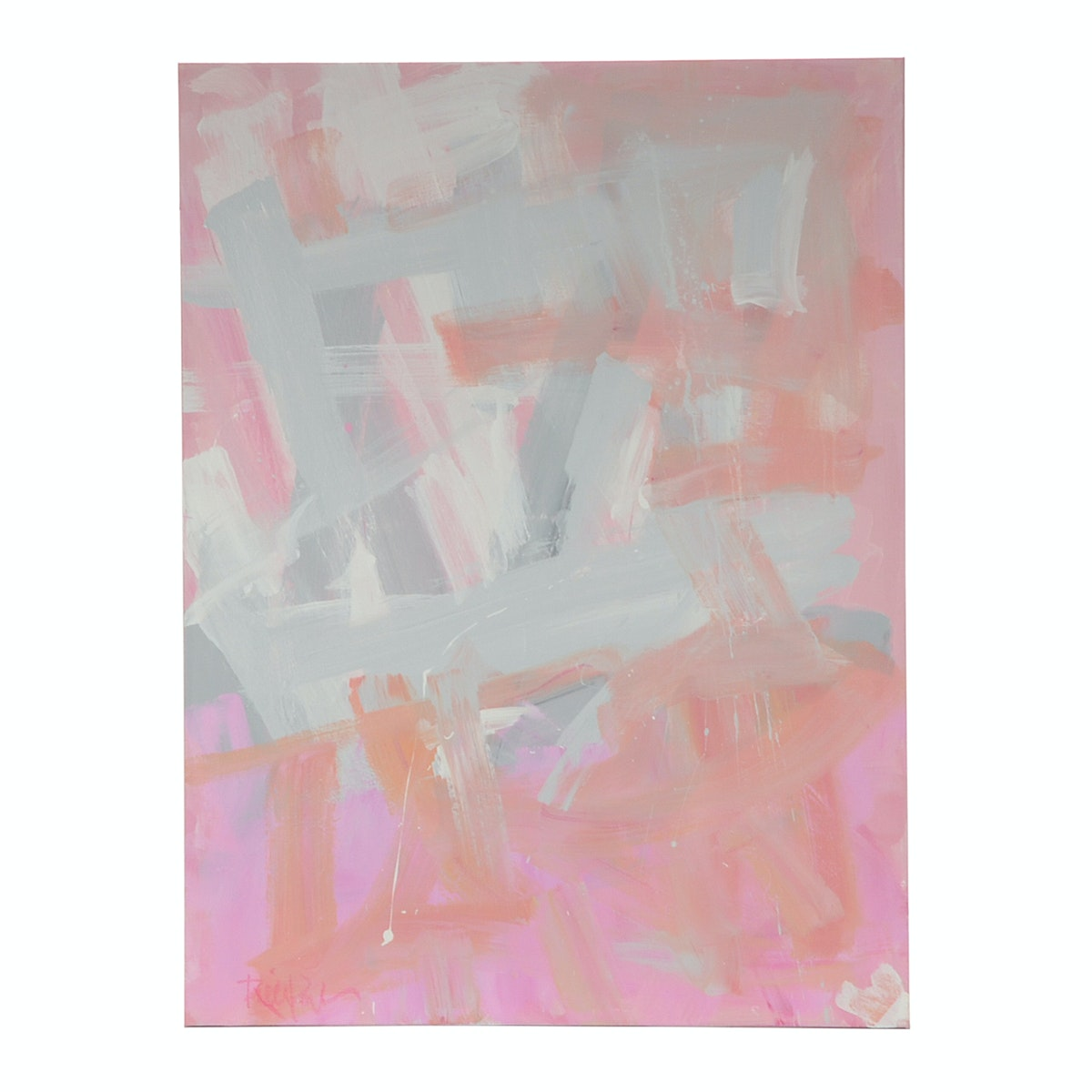 "Robbie Kemper Original Acrylic Painting ""Grays with Pink Marks"""