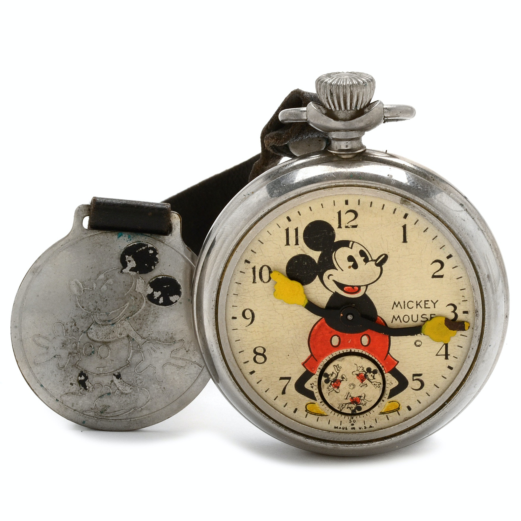 1930s Ingersoll Pie-Eyed Mickey Mouse Pocket Watch