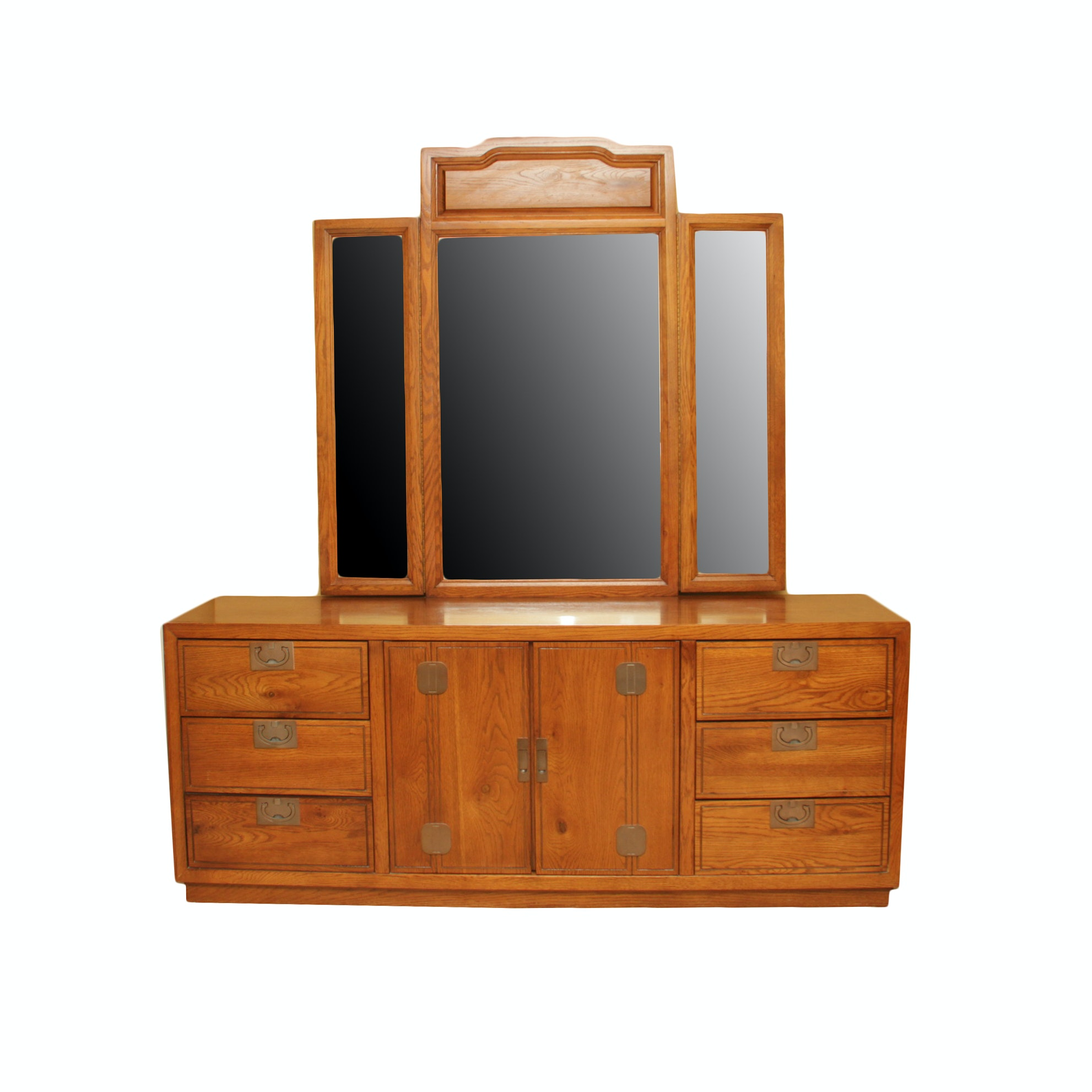 Vintage Campaign Style Oak Dresser With Mirror by Bassett