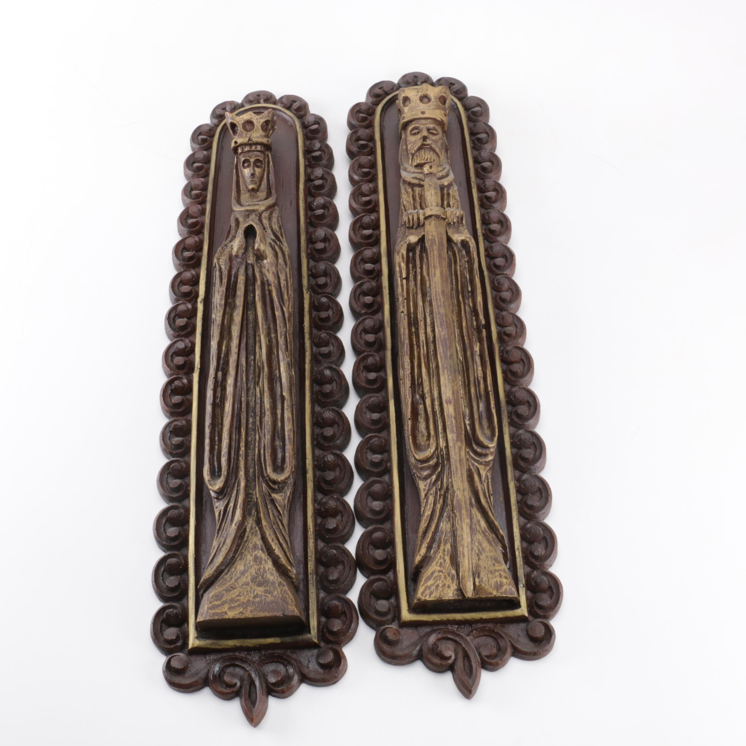 Carved Wooden King and Queen Wall Hangings