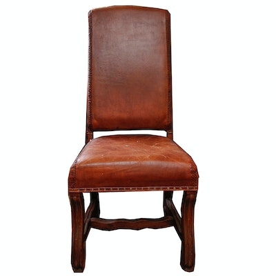 Vintage Leather High Back Chair - Vintage Chairs, Antique Chairs And Retro Chairs Auction In Art, Home