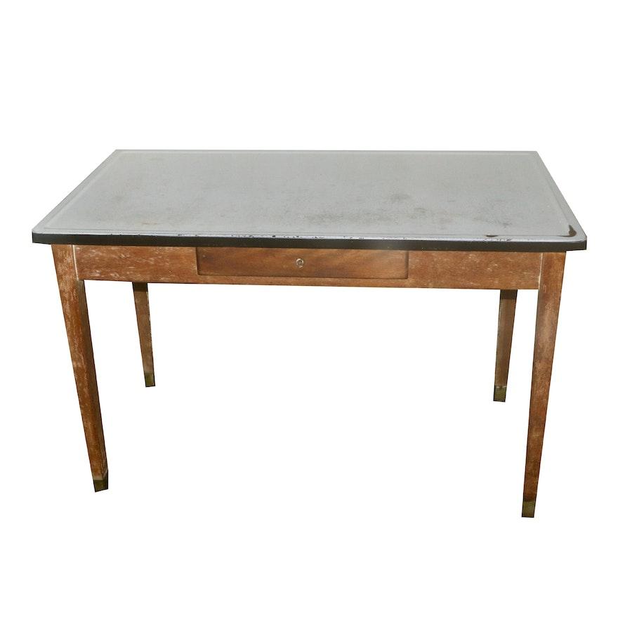 Vintage Enamel Top Kitchen Table: Vintage Kitchen Work Table With Enamel Top