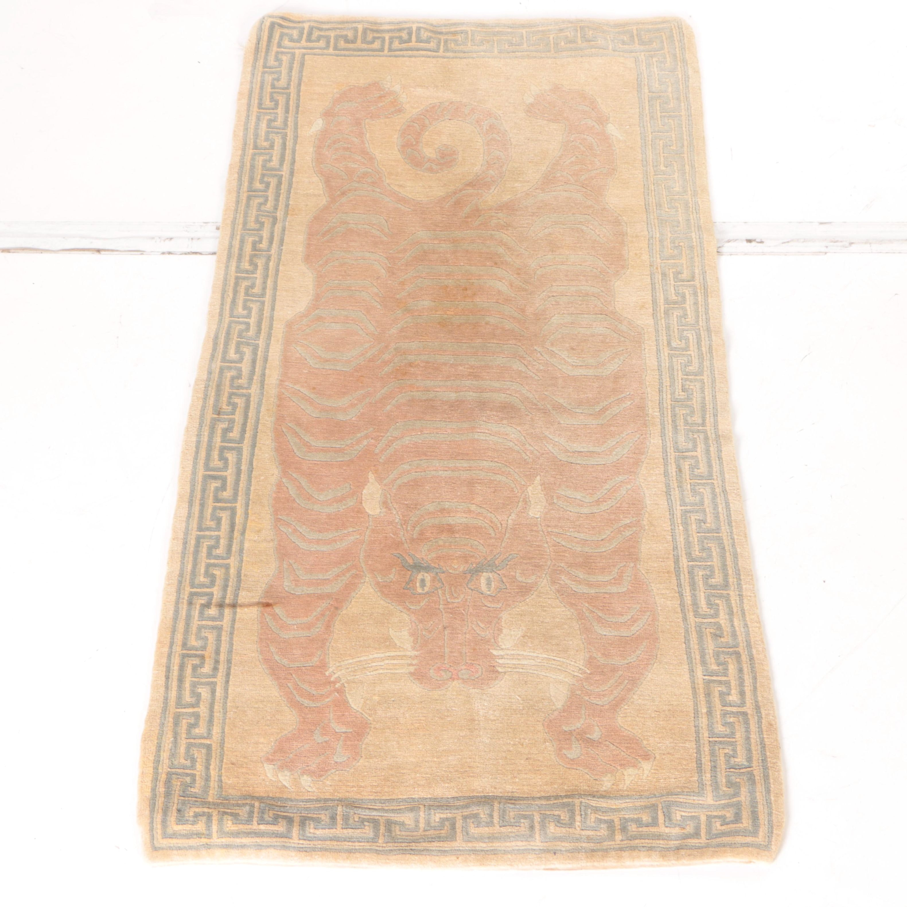 "Hand-Knotted Tibetan ""Tiger"" Area Rug"