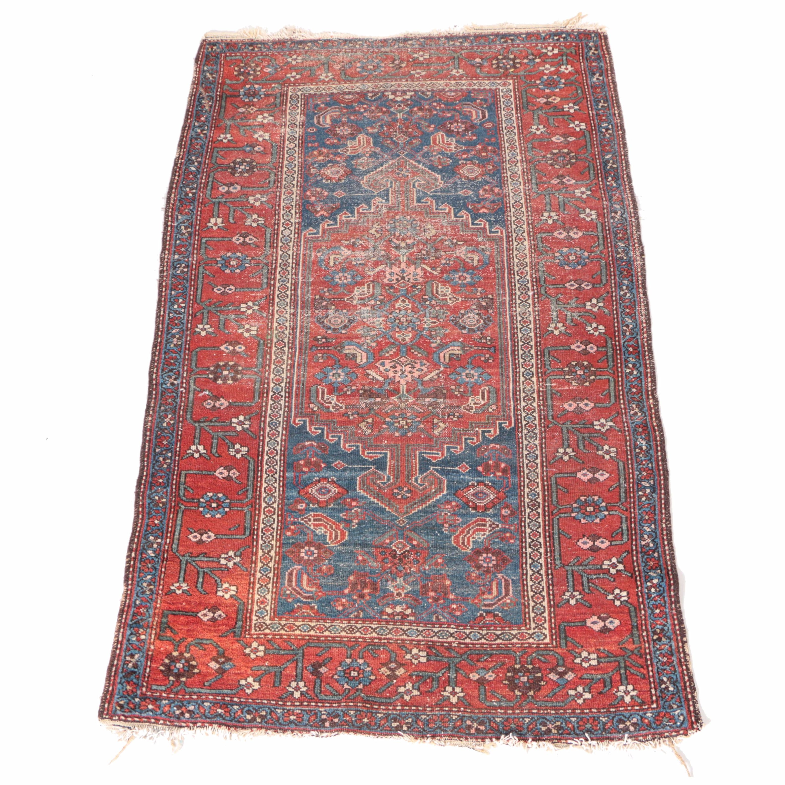Antique Hand-Woven Persian Tribal Area Rug