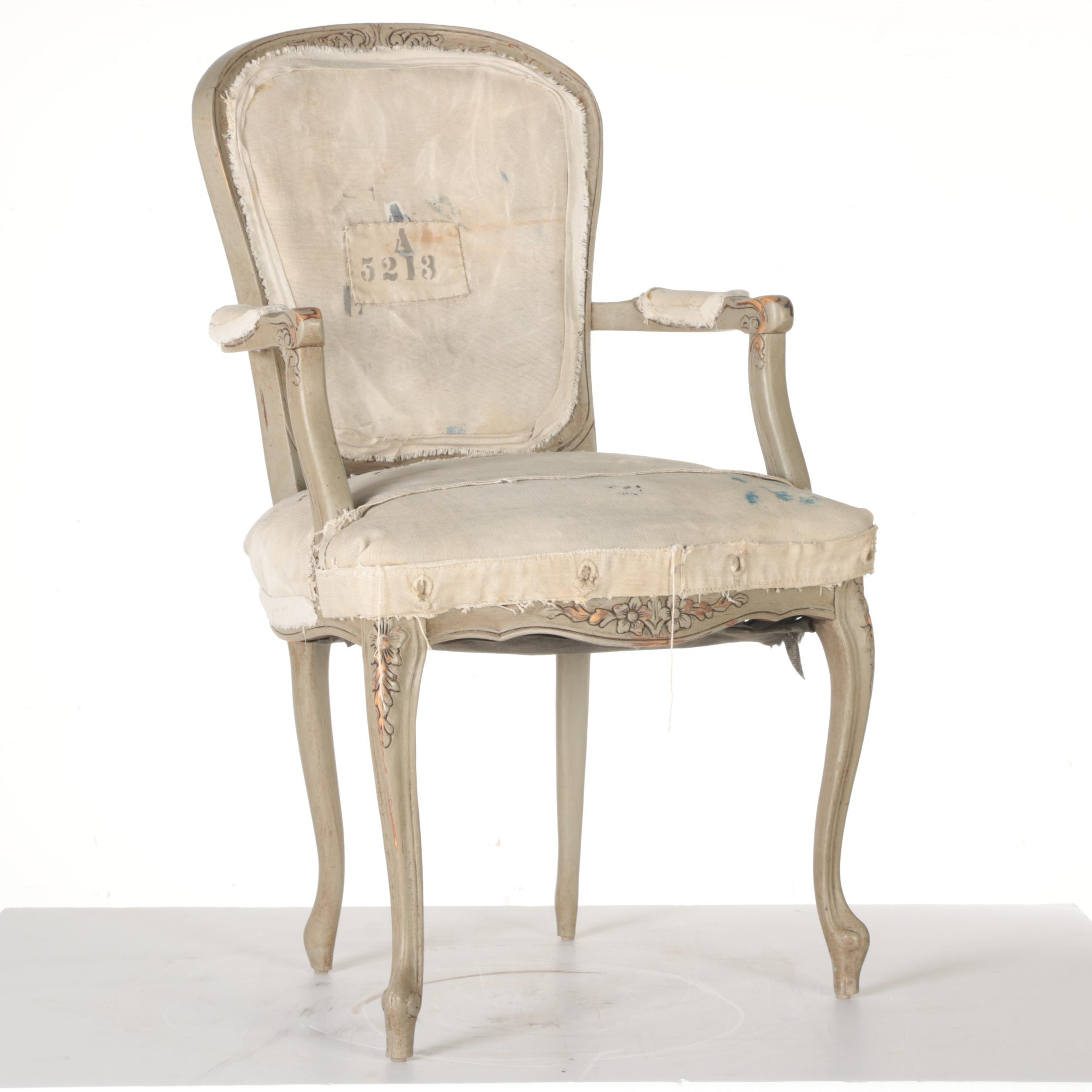 Louis XV Style Distressed Fauteuil with Fringed Back