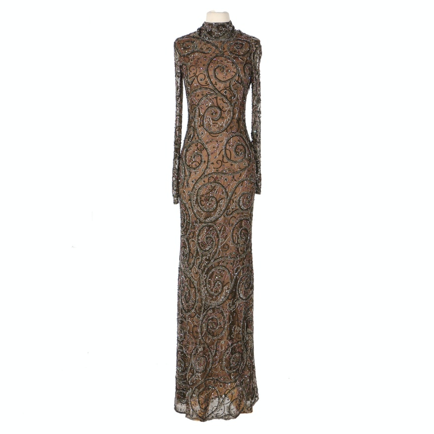 85f1d5b2aad Ralph Lauren Collection Beaded Silk Evening Gown   EBTH