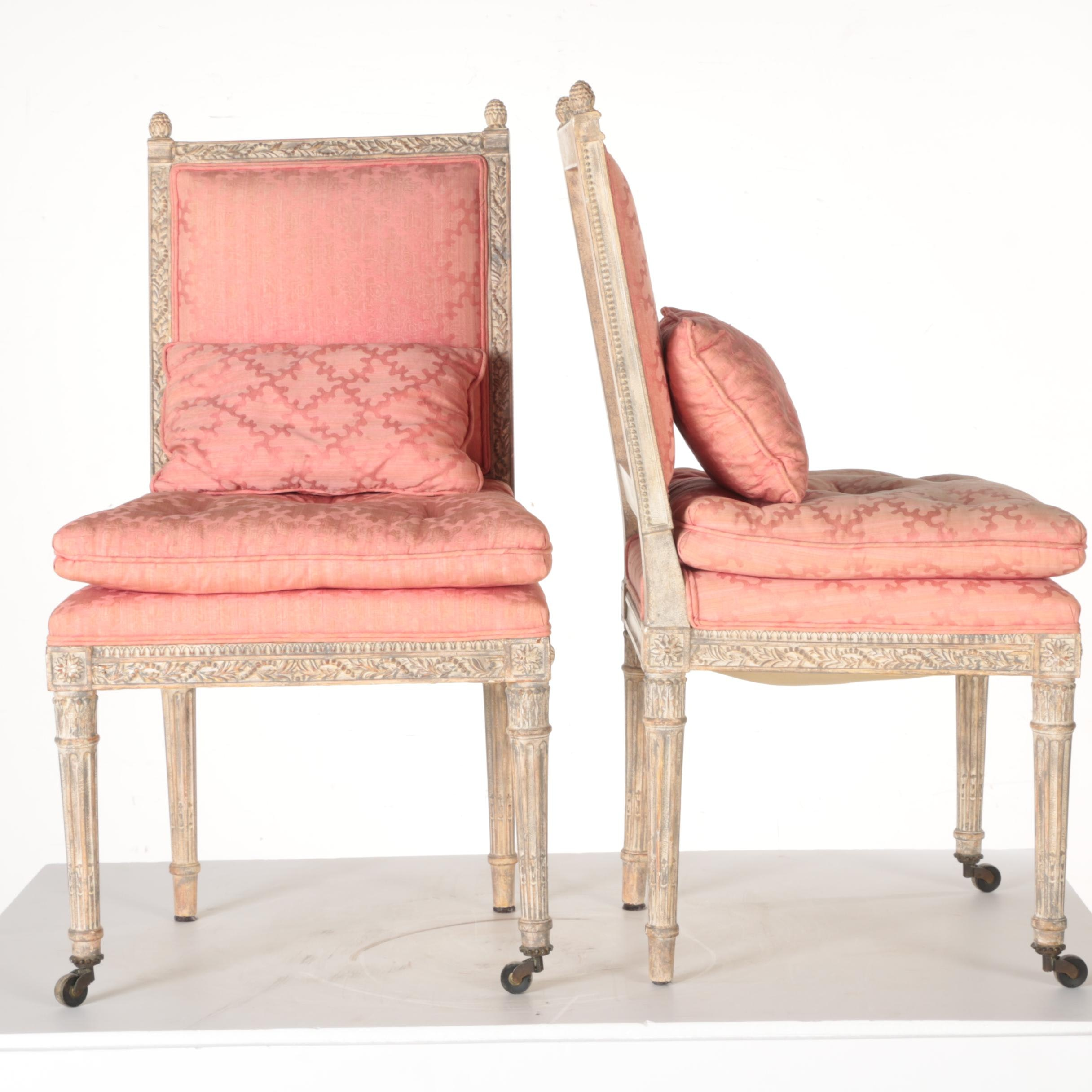 Pair of Pink Damask New Regency Louis XVI Style Side Chairs