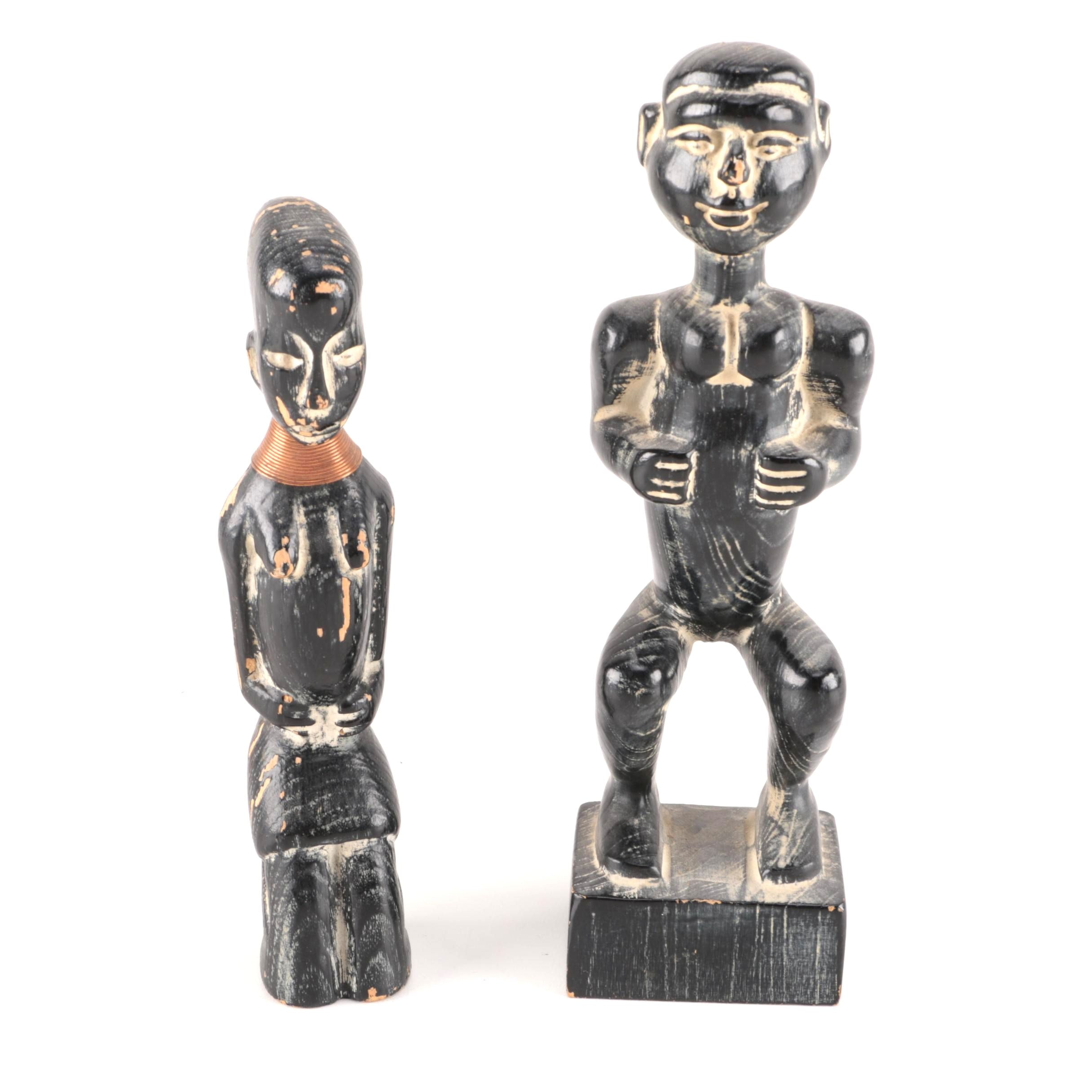 Two Artisan Carved Wooden Figures