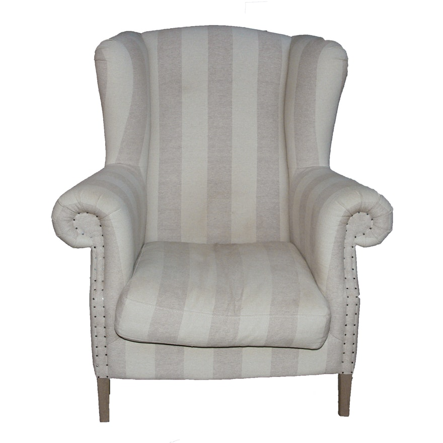 Gray And White Stripe Wing Chair
