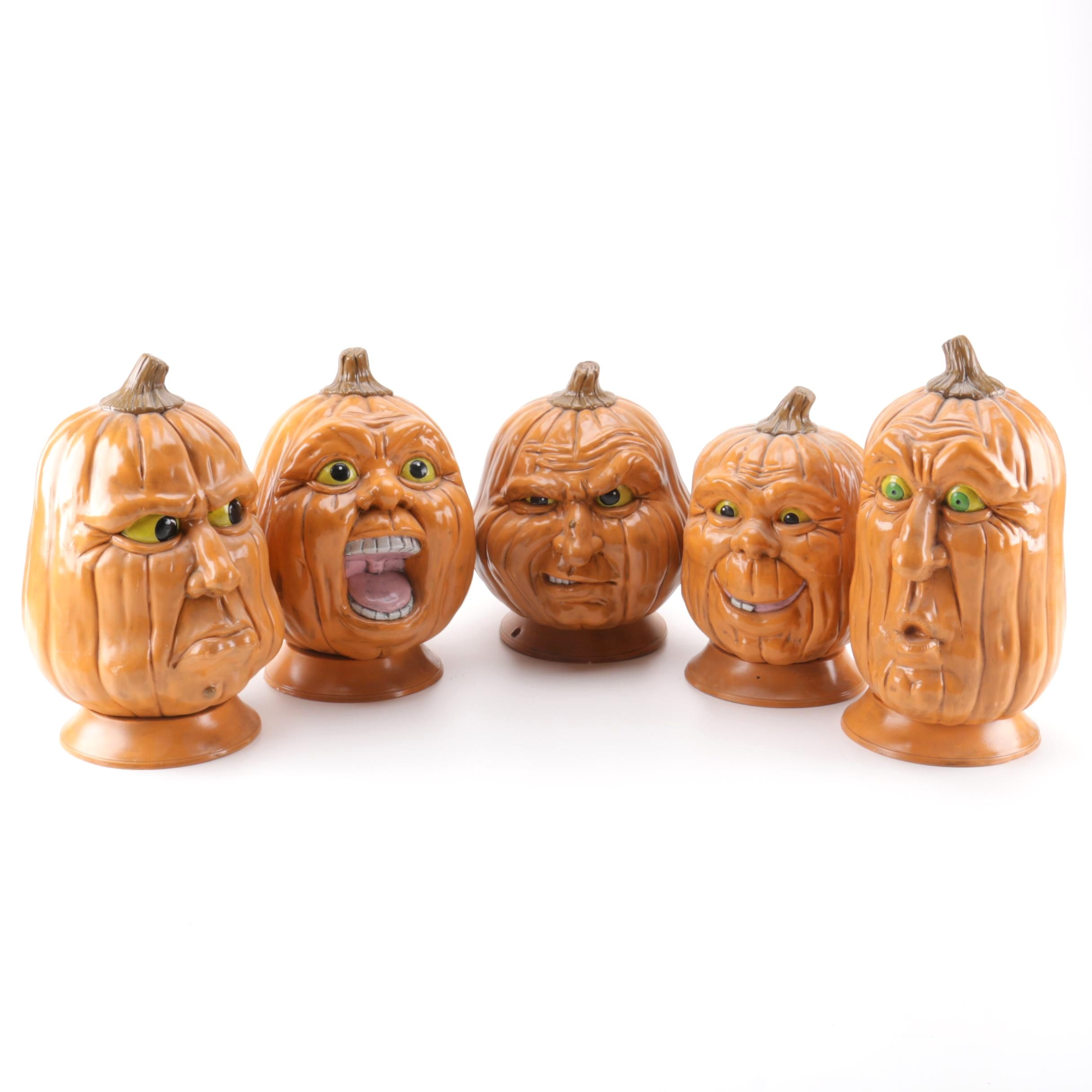 Ceramic Pumpkins with Facial Expressions
