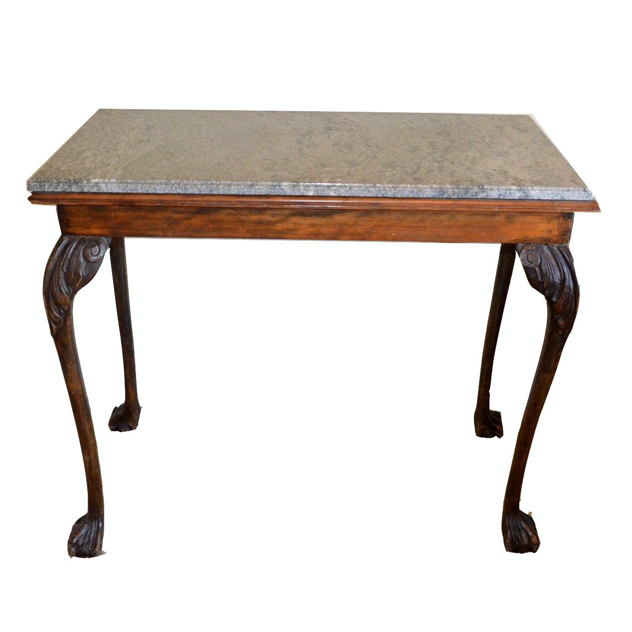 Vintage Granite Top Console Table ...